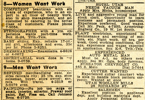 Tribune classified ads. July 25, 1947
